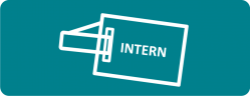Graphic of employee badge that says 'intern' on it.
